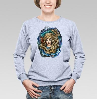 Зодиак ВОДОЛЕЙ  - Cвитшот женский, толстовка без капюшона  серый меланж, olkabalabolka, Новинки