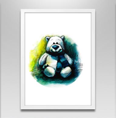 Плюшевый мишка - Постер в белой раме, улыбка