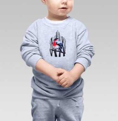 Снегирь на ветке - Купить детские свитшоты с деревьями в Москве, цена детских свитшотов с деревьями  с прикольными принтами - магазин дизайнерской одежды MaryJane