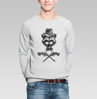Гангста енот - Купить мужские свитшоты с оружием в Москве, цена мужских свитшотов с оружием  с прикольными принтами - магазин дизайнерской одежды MaryJane