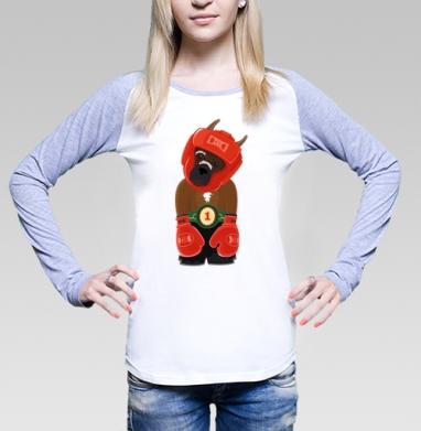 Боксёр, Футболка женская с длинным рукавом бело-серая