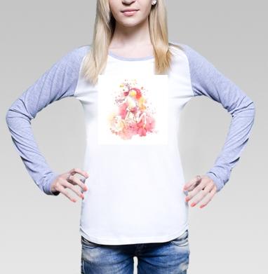 Футболка лонгслив женская бело-серая - Лошадь в очках