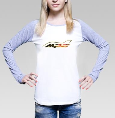 Футболка женская с длинным рукавом бело-серая - Mazda MPS Аeroplane sport color