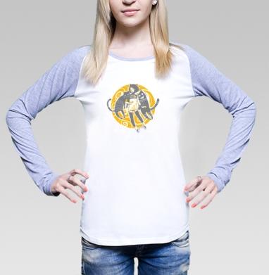 Street Cats, Футболка женская с длинным рукавом бело-серая