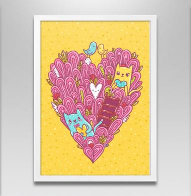 Котиколюбовь - Постер в белой раме, для влюбленных