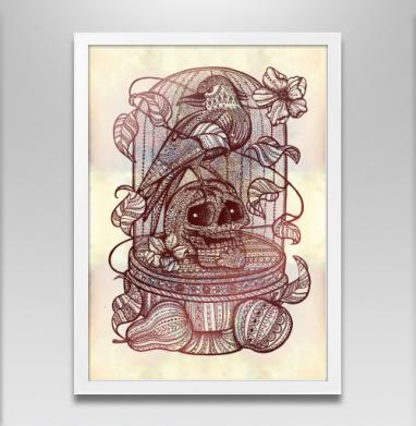 Ворон в хрустальной клетке - Постер в белой раме, жизнь