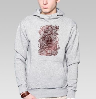 Ворон в хрустальной клетке - Толстовка мужская, накладной карман серый меланж, Жизнь