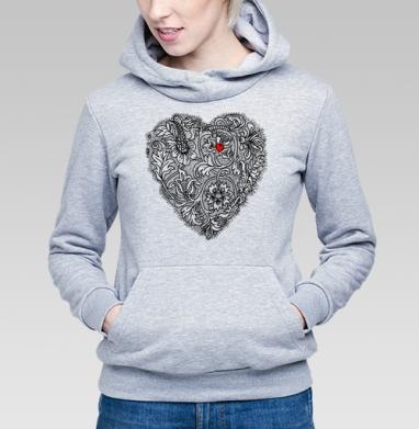 Два сердца вместе - Толстовка Женская серый меланж 340гр, теплый, психоделика, Популярные