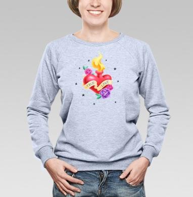 Тру лав - Купить женские свитшоты с роами в Москве, цена женских свитшотов с розой с прикольными принтами - магазин дизайнерской одежды MaryJane