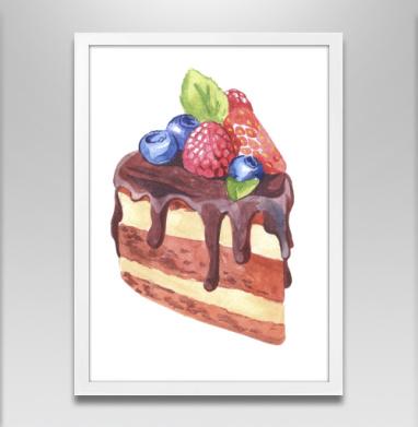 Тортик с ягодами  - Постер в белой раме, сладости