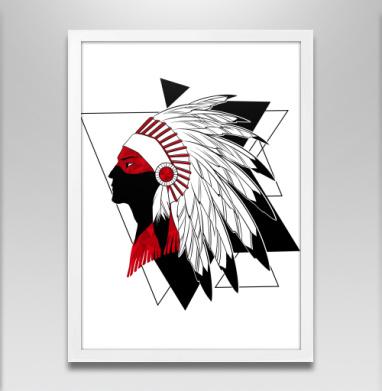 Черно-красный индеец - Постер в белой раме, индеец
