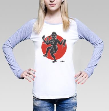 Футболка лонгслив женская бело-серая, бело-серый - Интернет магазин футболок №1 в Москве
