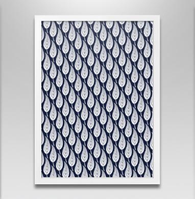 Декоративные синие листья  - Постер в белой раме, деревья