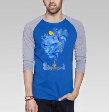 Беседа у костра - Футболка мужская с длинным рукавом синий / серый меланж, графика, Популярные