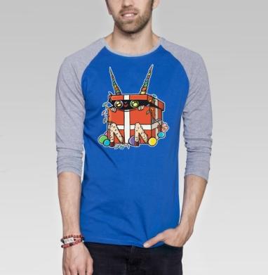 Коробкозёл - Футболка мужская с длинным рукавом синий / серый меланж, новый год, Популярные