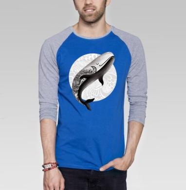 Рыба кит - Футболка мужская с длинным рукавом синий / серый меланж, киты, Популярные