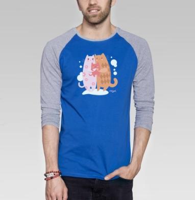 Счастливая семья котиков - Футболка мужская с длинным рукавом синий / серый меланж, любовь, Популярные