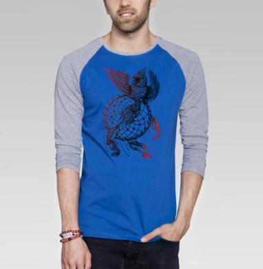 Сова в ловце снов  - Футболка мужская с длинным рукавом синий / серый меланж, солнце, Популярные