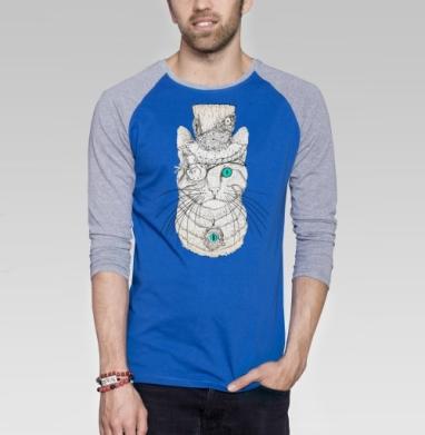 Стимпанк-Кот - Футболка мужская с длинным рукавом синий / серый меланж, нежность, Популярные
