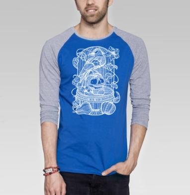 Ворон в хрустальной клетке - Футболка мужская с длинным рукавом синий / серый меланж, свобода, Популярные