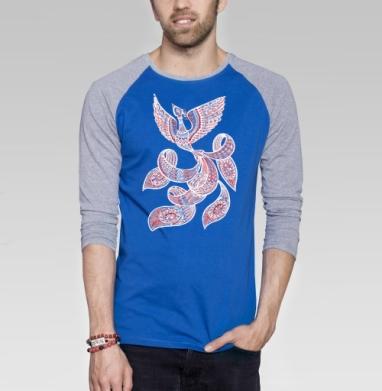 Встреча с жар-птицей - Футболка мужская с длинным рукавом синий / серый меланж, этно, Популярные