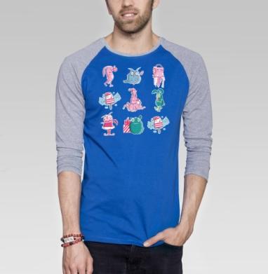 Зимний сон - Футболка мужская с длинным рукавом синий / серый меланж, новый год, Популярные