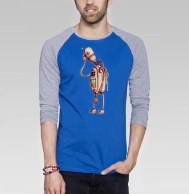 Грустный робот - Футболка мужская с длинным рукавом синий / серый меланж, автомобиль, Популярные