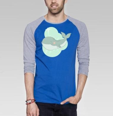 Кит улыбака - Футболка мужская с длинным рукавом синий / серый меланж, улыбка, Популярные