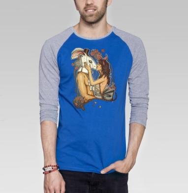 Кроликачасы - Футболка мужская с длинным рукавом синий / серый меланж, красота, Популярные