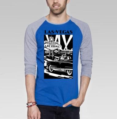 Лас Вегас  - Футболка мужская с длинным рукавом синий / серый меланж, город, Популярные