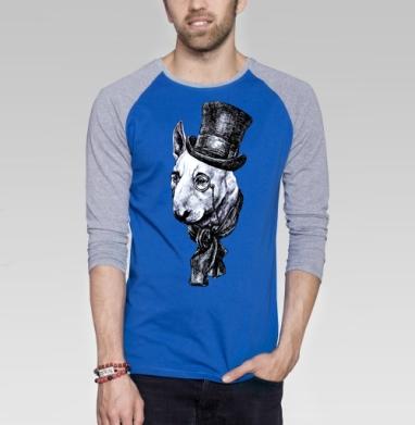 Сэр Бультерьер - Футболка мужская с длинным рукавом синий / серый меланж, животные, Популярные