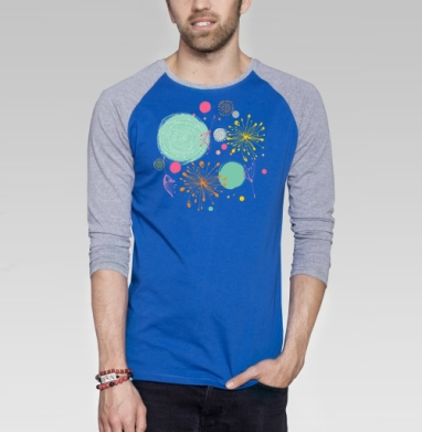 В весеннем воздухе - Футболка мужская с длинным рукавом синий / серый меланж, лето, Популярные