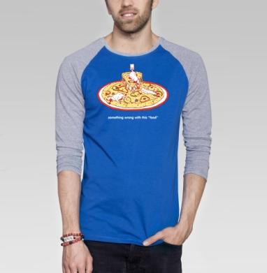 ЭТО НЕ ЕДА - Футболка мужская с длинным рукавом синий / серый меланж, еда, Популярные