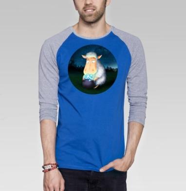 Горшочек для овечки - Футболка мужская с длинным рукавом синий / серый меланж, сказки, Популярные