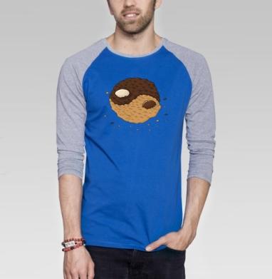 Инь-янь печеньк - Футболка мужская с длинным рукавом синий / серый меланж, символ, Популярные