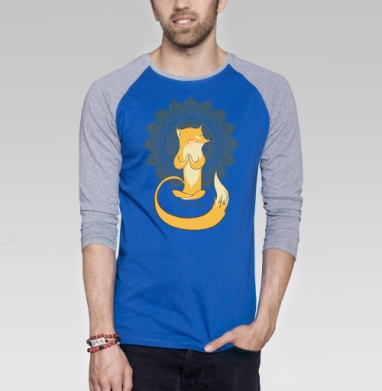 Лисья йога  - Футболка мужская с длинным рукавом синий / серый меланж, йога, Популярные