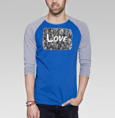 Моя любовь - Футболка мужская с длинным рукавом синий / серый меланж, для влюбленных, Популярные