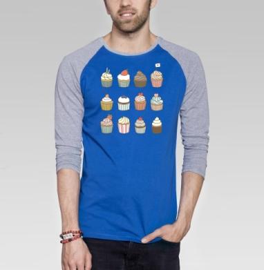 Растипопа - Футболка мужская с длинным рукавом синий / серый меланж, сладости, Популярные