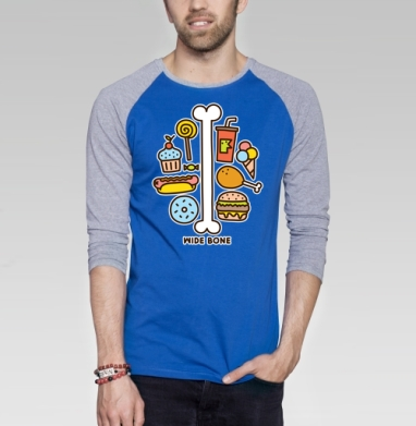 ШИРОКАЯ КОСТЬ - Футболка мужская с длинным рукавом синий / серый меланж, еда, Популярные