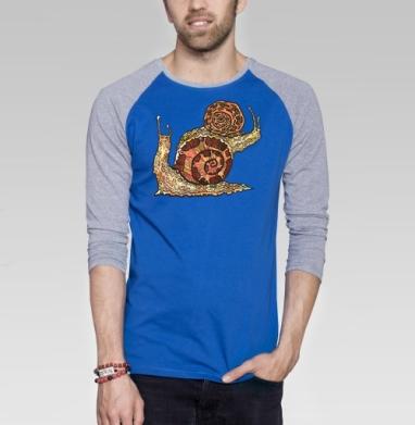 УЛИТКИ - Футболка мужская с длинным рукавом синий / серый меланж, насекомые, Популярные