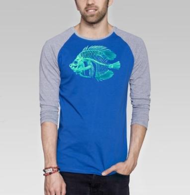 DeadFish - Футболка мужская с длинным рукавом синий / серый меланж, киты, Популярные