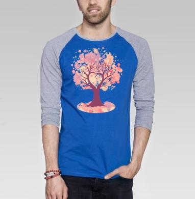 Дерево-сердце - Футболка мужская с длинным рукавом синий / серый меланж, для влюбленных, Популярные