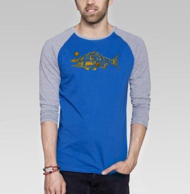 Киберпанк - Футболка мужская с длинным рукавом синий / серый меланж, череп, Популярные