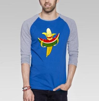 Мультифрукт  - Футболка мужская с длинным рукавом синий / серый меланж, еда, Популярные