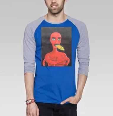 Red woman with a fish in his mouth  - Футболка мужская с длинным рукавом синий / серый меланж, киты, Популярные