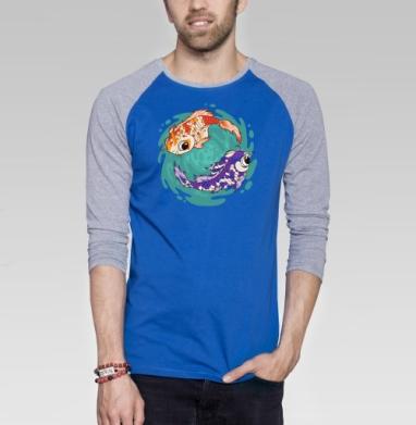 Кои - Футболка мужская с длинным рукавом синий / серый меланж, киты, Популярные