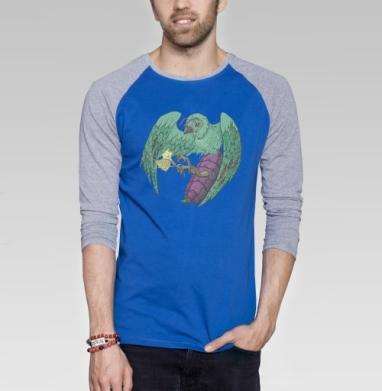Птичья пыльца - Футболка мужская с длинным рукавом синий / серый меланж, психоделика, Популярные
