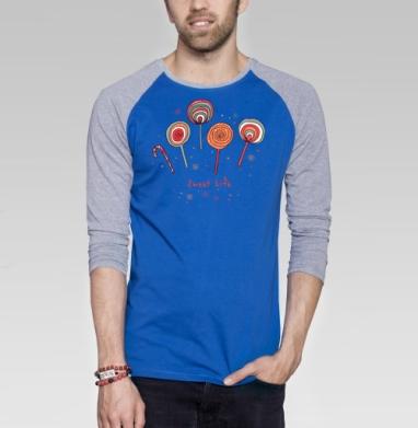 Sweet life - Футболка мужская с длинным рукавом синий / серый меланж, сладости, Популярные