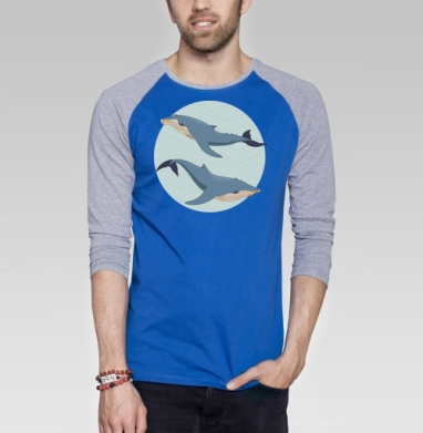 Blue whales - Футболка мужская с длинным рукавом синий / серый меланж, киты, Популярные