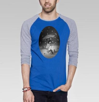 Чаепитие на луне - Футболка мужская с длинным рукавом синий / серый меланж, мороженое, Популярные